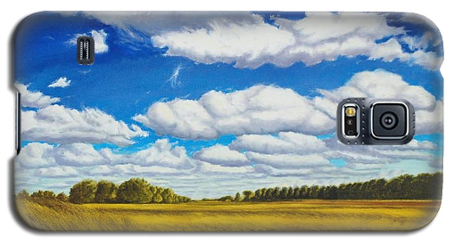 Wheat Galaxy S5 Case featuring the painting Early Summer Clouds by Leonard Heid