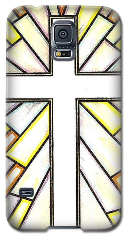Cross Galaxy S5 Case featuring the painting Easter Cross 3 by Jim Harris