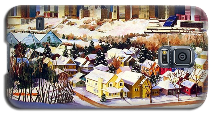 Urbanscape Galaxy S5 Case featuring the painting Edmonton In Winter by Nel Kwiatkowska