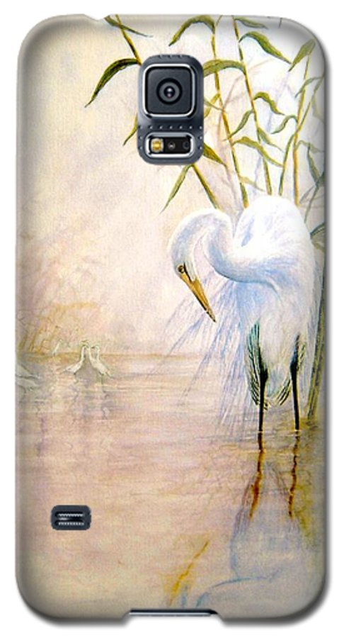 Eret; Bird; Low Country Galaxy S5 Case featuring the painting Egret by Ben Kiger