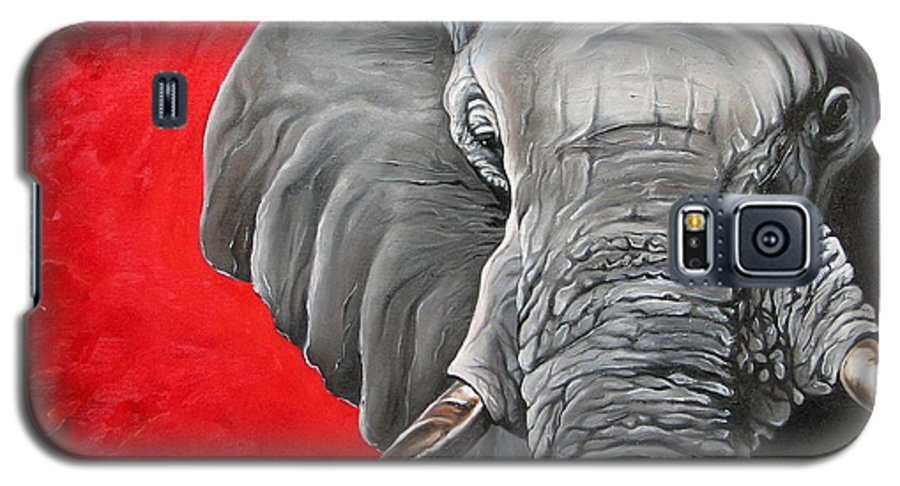 Wildlife Galaxy S5 Case featuring the painting Elephant by Ilse Kleyn