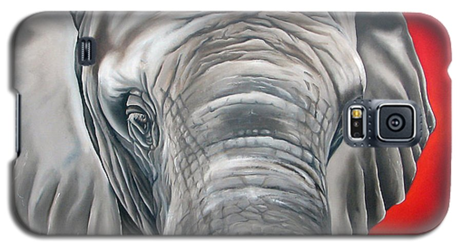 Elephant Galaxy S5 Case featuring the painting Elephant Six Of Eight by Ilse Kleyn