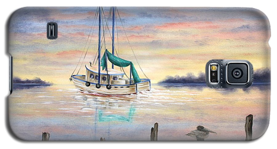 Seascape Galaxy S5 Case featuring the painting End Of The Day by Ruth Bares