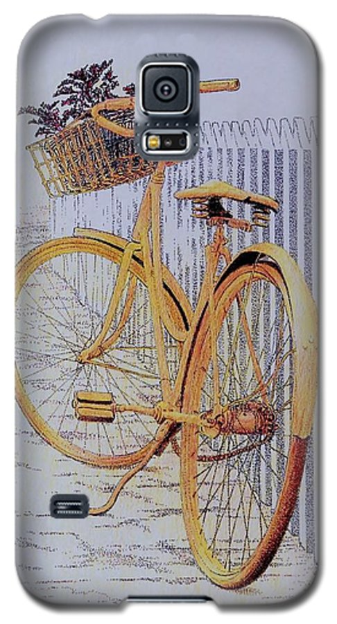 Bicycle Yellow Summer Flowers Plants Galaxy S5 Case featuring the painting Endless Summer by Tony Ruggiero