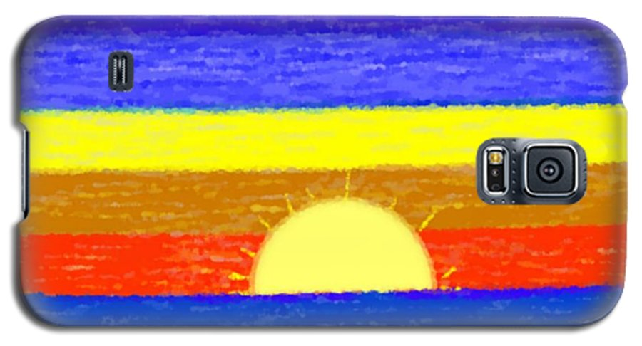 Evening.sky.stars.colors.violet.blue.orange.yellow.red.sea.sunset.sun.sunrays.reflrction. Ater. Galaxy S5 Case featuring the digital art Evening Colors by Dr Loifer Vladimir