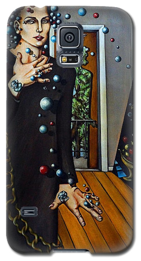 Surreal Galaxy S5 Case featuring the painting Existential Thought by Valerie Vescovi