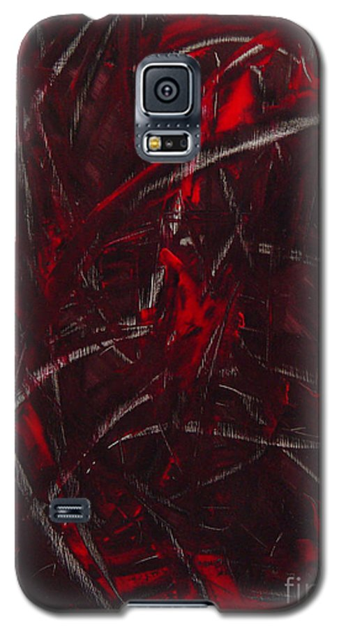 Abstract Galaxy S5 Case featuring the painting Expectations Red by Dean Triolo