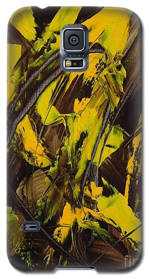 Abstract Galaxy S5 Case featuring the painting Expectations Yellow by Dean Triolo