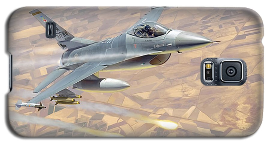 Aviation Galaxy S5 Case featuring the painting F-16 Fighting Falcon by Mark Karvon
