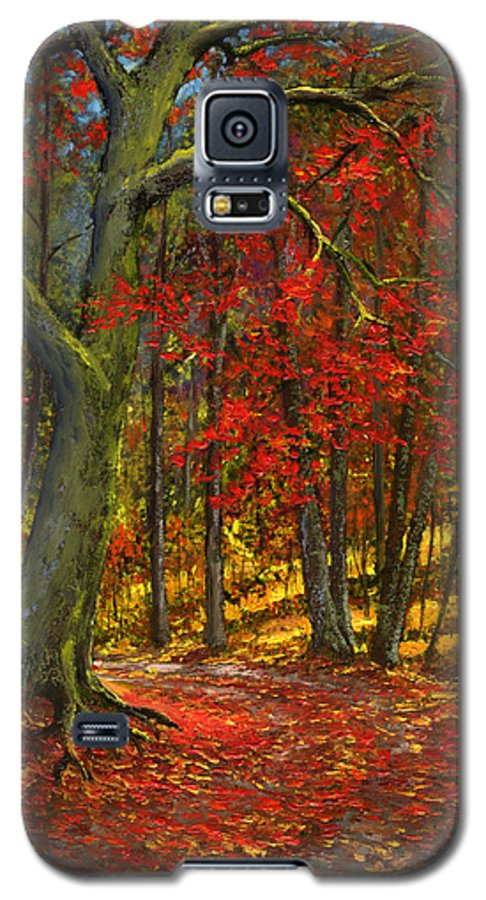 Landscape Galaxy S5 Case featuring the painting Fallen Leaves by Frank Wilson