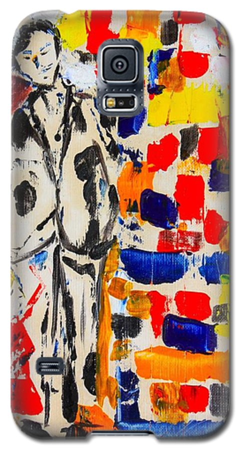 Oil Galaxy S5 Case featuring the painting Father And Daughter by Roger Cummiskey