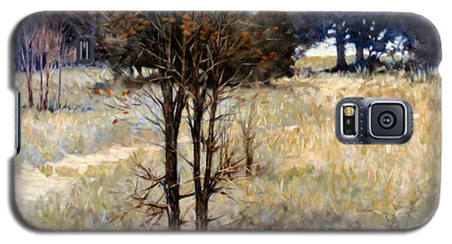 Landscape Galaxy S5 Case featuring the painting Feathery Field by Kevin Lawrence Leveque