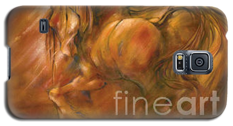 Horse Galaxy S5 Case featuring the painting Fire by Wendy Froshay