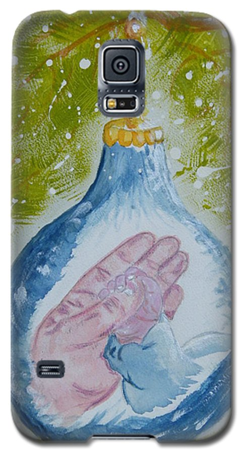 Christmas Galaxy S5 Case featuring the painting First Christmas II by Margaret G Calenda