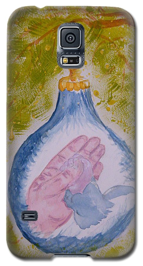 Christmas Galaxy S5 Case featuring the painting First Christmas by Margaret G Calenda