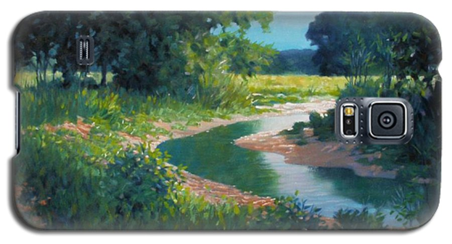Landscape Galaxy S5 Case featuring the painting First Light by Kevin Lawrence Leveque