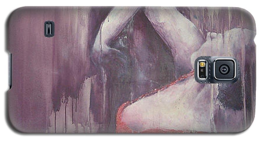 Flamenco Dance Sport Female Red Purple Galaxy S5 Case featuring the painting Flamenco 4 by Jos Van de Venne