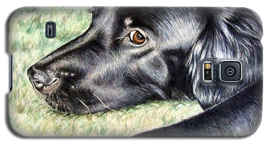 Dog Galaxy S5 Case featuring the painting Flat Coated Retriever by Nicole Zeug