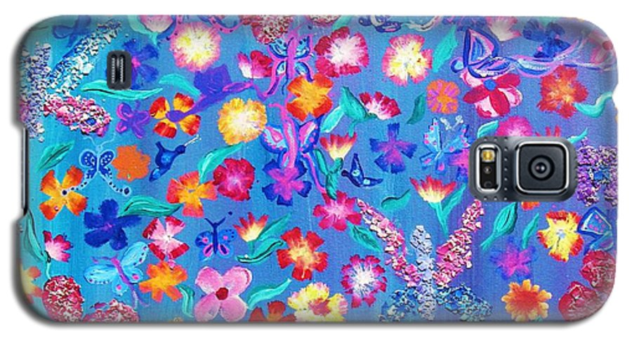 Floral Galaxy S5 Case featuring the painting Flowers And Butterflies by J Andrel
