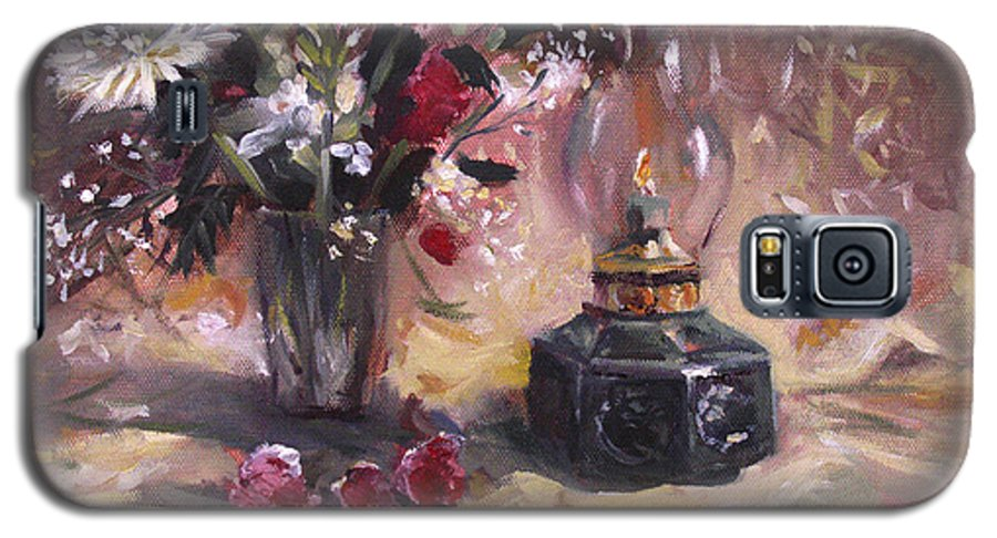 Flowers Galaxy S5 Case featuring the painting Flowers With Lantern by Nancy Griswold