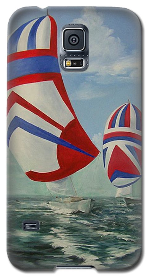 Sailing Ships Galaxy S5 Case featuring the painting Flying The Colors by Wanda Dansereau