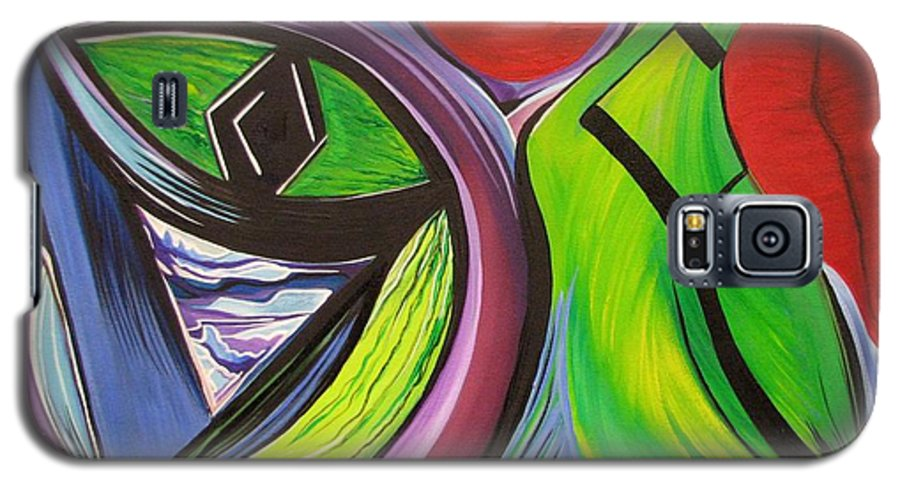 Abstract Galaxy S5 Case featuring the painting Friday by Aimee Vance