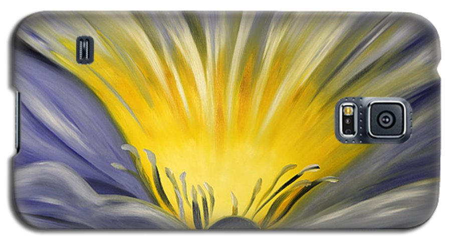 Blue Galaxy S5 Case featuring the painting From The Heart Of A Flower Blue by Gina De Gorna