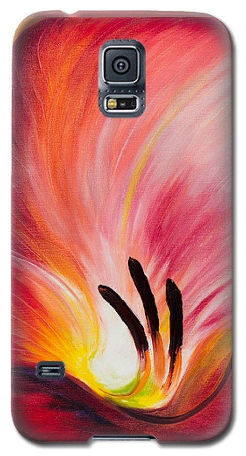 Red Galaxy S5 Case featuring the painting From The Heart Of A Flower Red I by Gina De Gorna