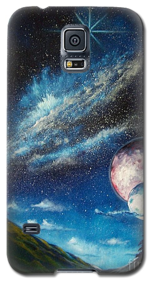 Space Horizon Galaxy S5 Case featuring the painting Galatic Horizon by Murphy Elliott