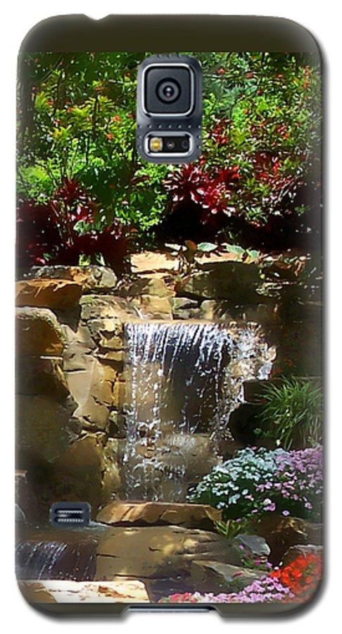Garden Galaxy S5 Case featuring the photograph Garden Waterfalls by Pharris Art