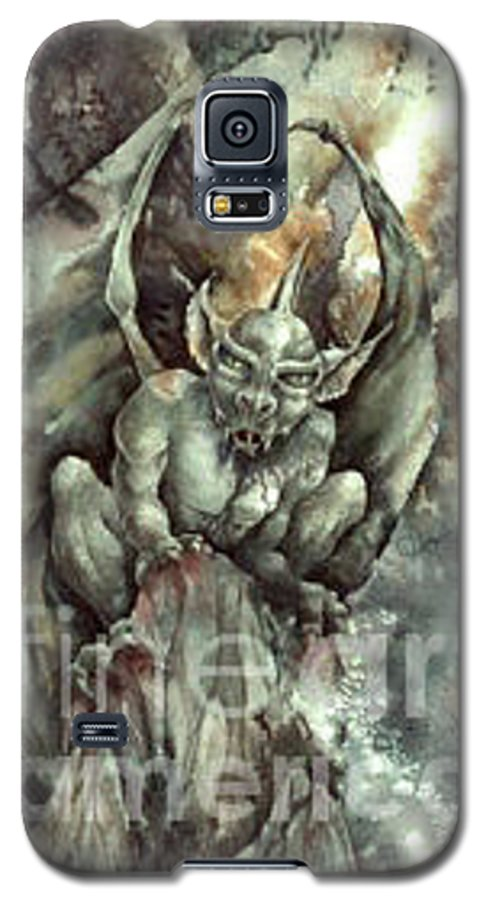 Gargoyle Galaxy S5 Case featuring the painting Gargoyle by Wendy Froshay