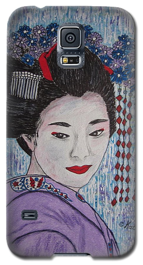 Oriental Galaxy S5 Case featuring the painting Geisha Girl by Kathy Marrs Chandler