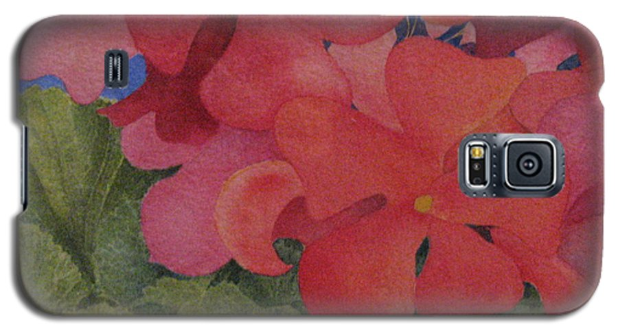 Florals Galaxy S5 Case featuring the painting Generium by Mary Ellen Mueller Legault