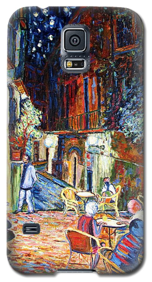 Impressionsist Spain Cafe Night Stars Van Gogh Galaxy S5 Case featuring the painting Gerona by Rob White
