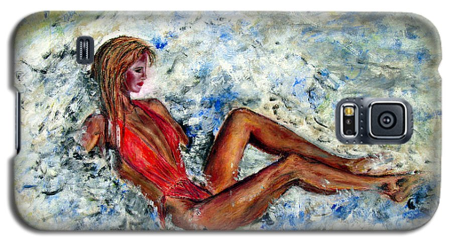 Girl Galaxy S5 Case featuring the painting Girl In A Red Swimsuit by Tom Conway