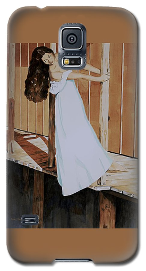 Girl On Dock Galaxy S5 Case featuring the painting Girl On Dock by Judy Swerlick