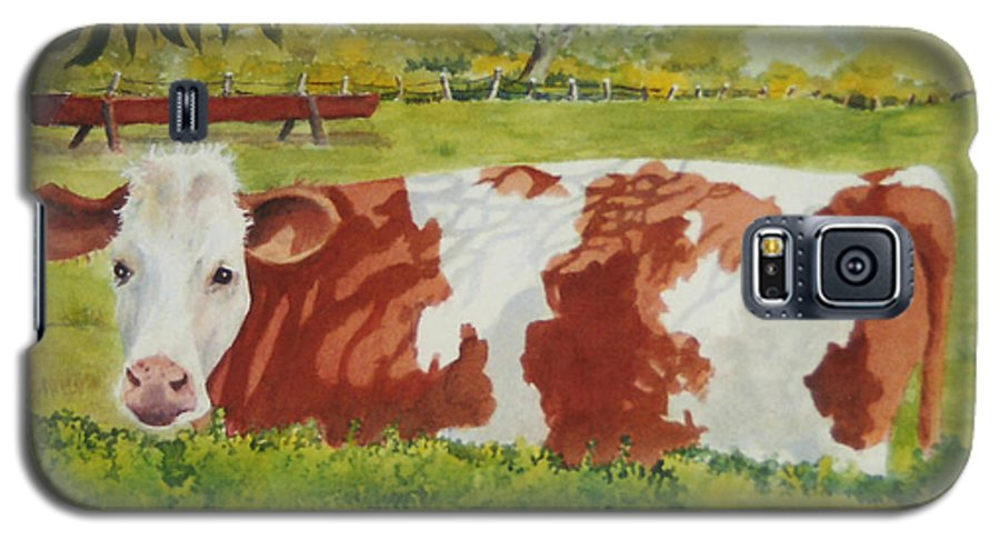 Cows Galaxy S5 Case featuring the painting Give Me Moooore Shade by Mary Ellen Mueller Legault