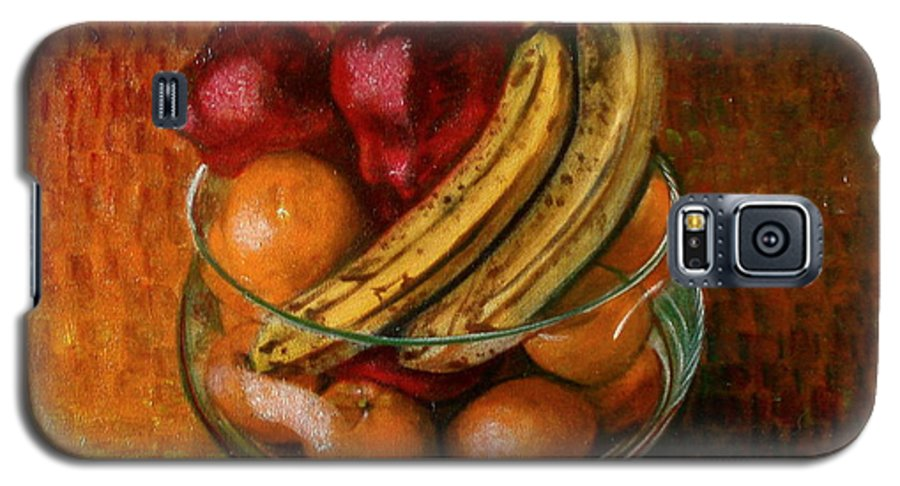 Still Life Galaxy S5 Case featuring the painting Glass Bowl Of Fruit by Sean Connolly
