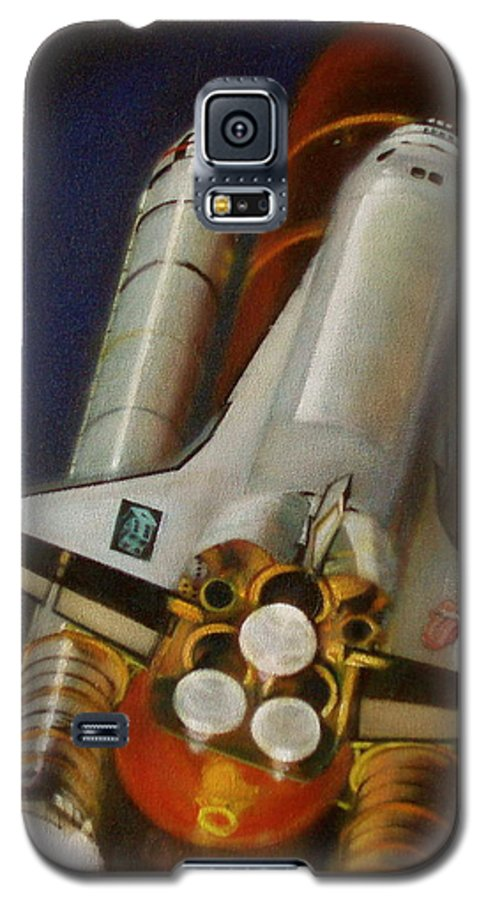 Space Shuttle;launch;liftoff;blastoff;rockets;engines;astronauts;spaceart;nasa;photorealism Galaxy S5 Case featuring the painting God Plays Dice by Sean Connolly