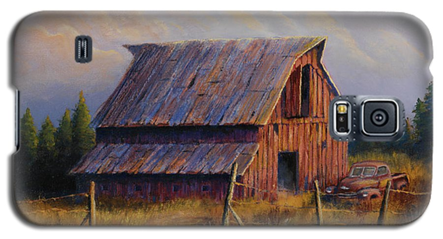 Barn Galaxy S5 Case featuring the painting Grandpas Truck by Jerry McElroy