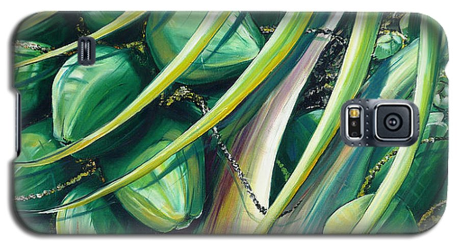Coconut Painting Caribbean Painting Coconuts Caribbean Tropical Painting Palm Tree Painting  Green Botanical Painting Green Painting Galaxy S5 Case featuring the painting Green Coconuts 2 by Karin Dawn Kelshall- Best