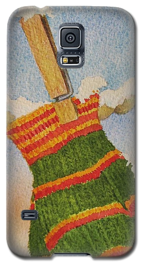 Children Galaxy S5 Case featuring the painting Green Mittens by Mary Ellen Mueller Legault