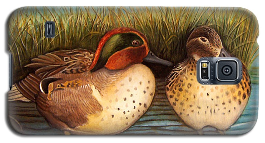 Rick Huotari Galaxy S5 Case featuring the painting Green Winged Teal by Rick Huotari