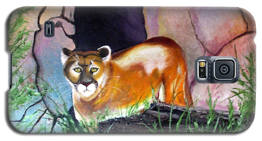 Big Cats Galaxy S5 Case featuring the painting Guarding The Cave by Lora Duguay