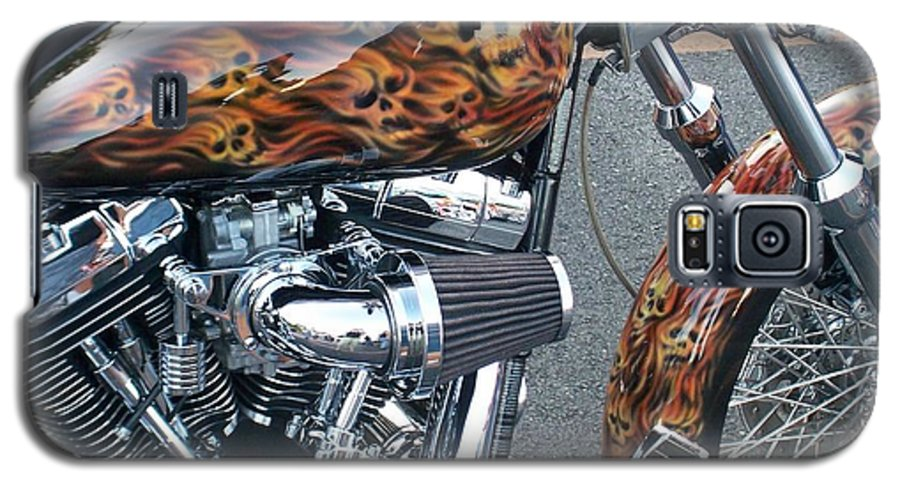 Motorcycles Galaxy S5 Case featuring the photograph Harley Close-up Skull Flame by Anita Burgermeister