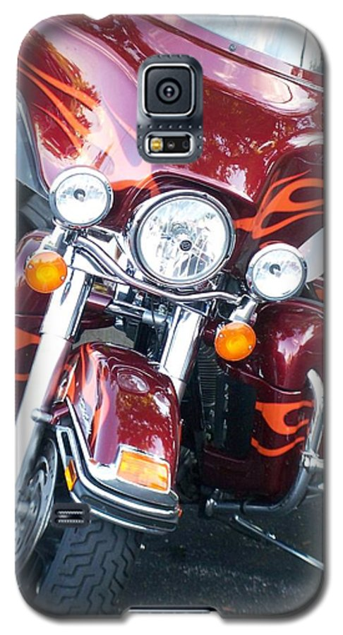 Motorcycles Galaxy S5 Case featuring the photograph Harley Red W Orange Flames by Anita Burgermeister