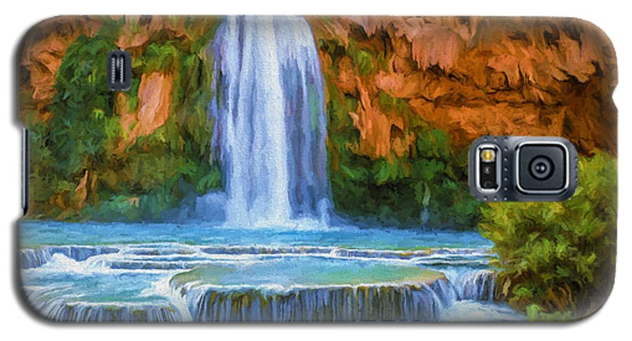Fine Art Galaxy S5 Case featuring the painting Havasu Falls by David Wagner