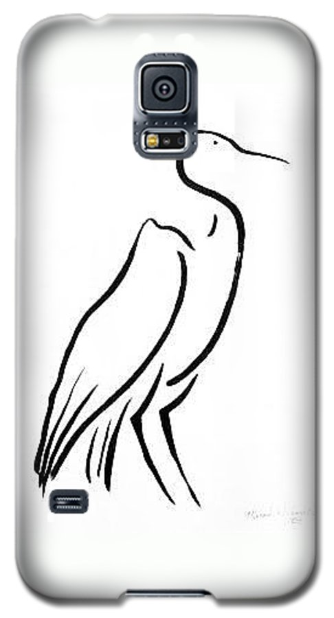 Calligraphy Galaxy S5 Case featuring the drawing Heron by Micah Guenther