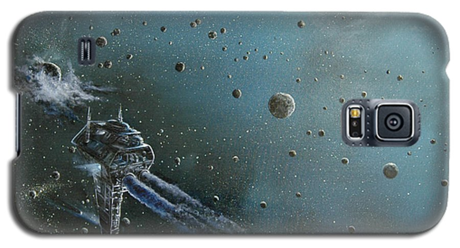 Astro Galaxy S5 Case featuring the painting Hiding In The Field by Murphy Elliott