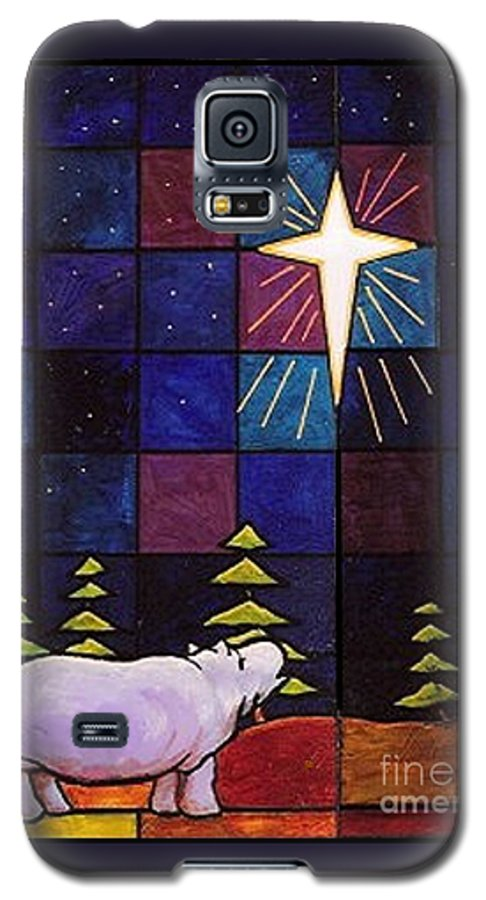 Christmas Galaxy S5 Case featuring the painting Hippo Awe And Wonder by Jim Harris